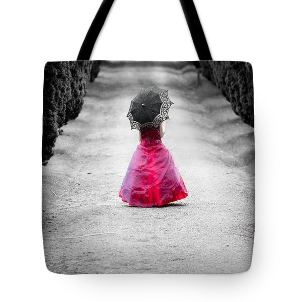 Girl In A Red Dress Tote Bag