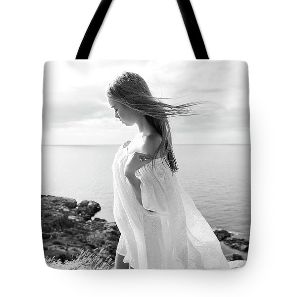 Girl In A White Dress By The Sea Tote Bag