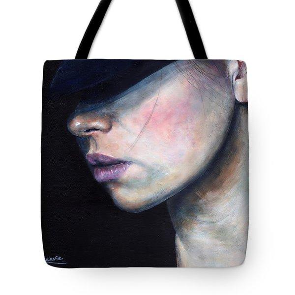 Girl In Black Hat Tote Bag