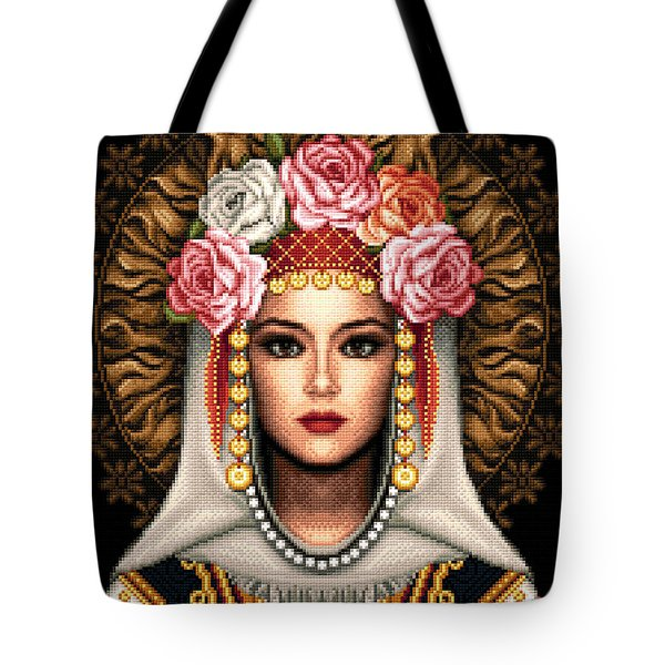 Girl In Bulgarian National Costume Tote Bag by Stoyanka Ivanova