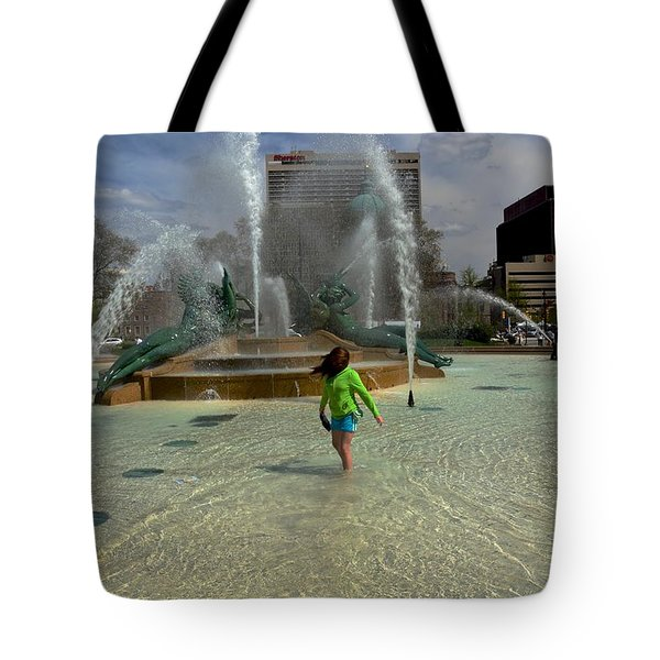 Girl In Fountain Tote Bag