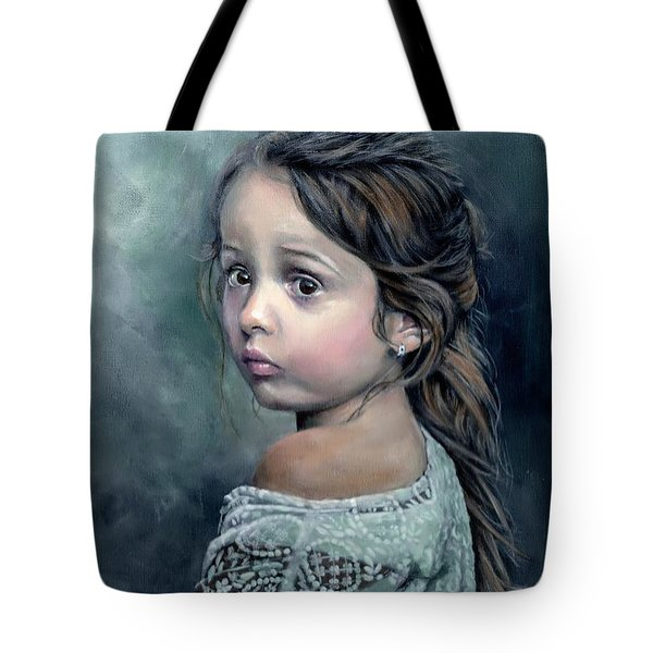Tote Bag featuring the painting Girl In Lace by John Neeve