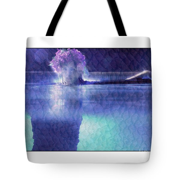 Girl In Pool At Night Tote Bag