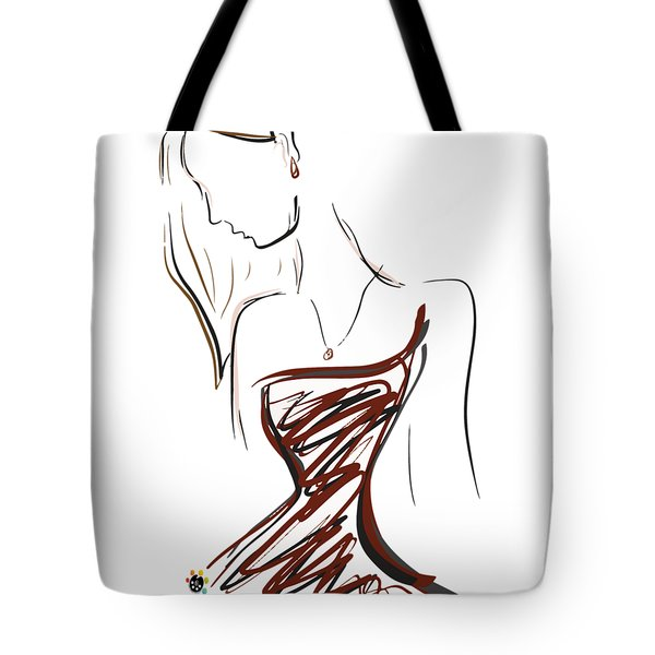 Girl In Red Tote Bag