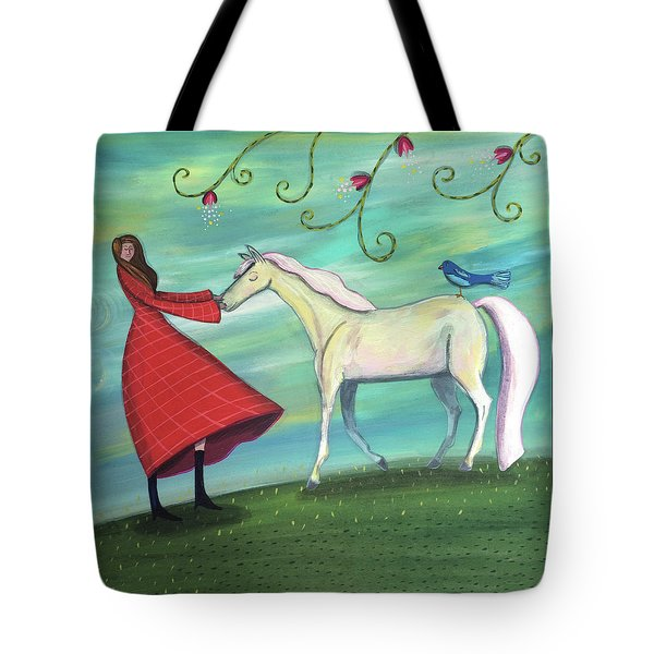 Tote Bag featuring the painting Girl In Red With White Pony by Marti McGinnis