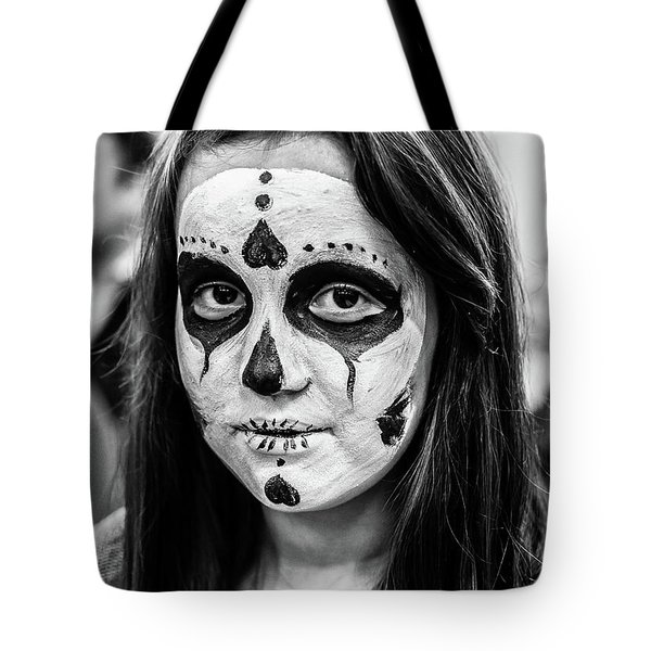 Tote Bag featuring the photograph Girl In Skull Facepaint by John Williams