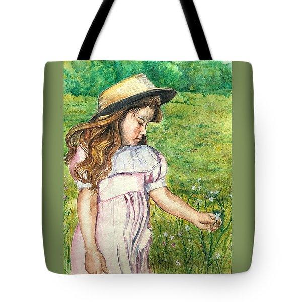 Girl In Straw Hat Tote Bag
