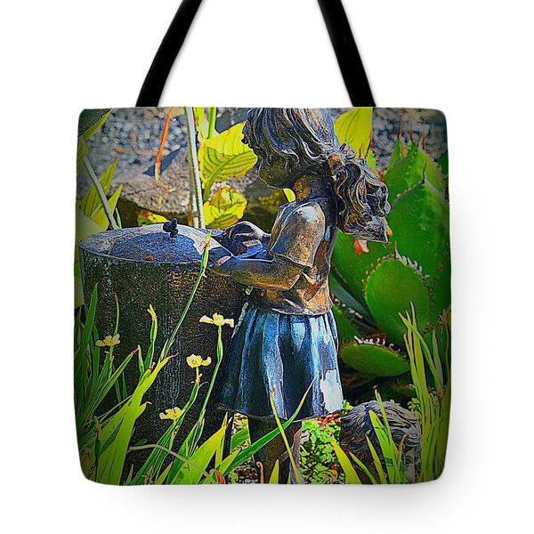 Tote Bag featuring the photograph Girl In The Garden by Lori Seaman