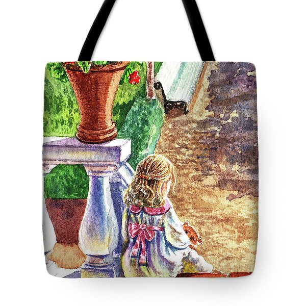 Girl In The Garden With Teddy Bear Tote Bag
