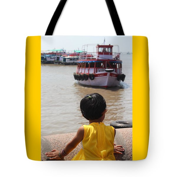 Girl In Yellow Dress W/leaf In Hair Looking At Boats Tote Bag
