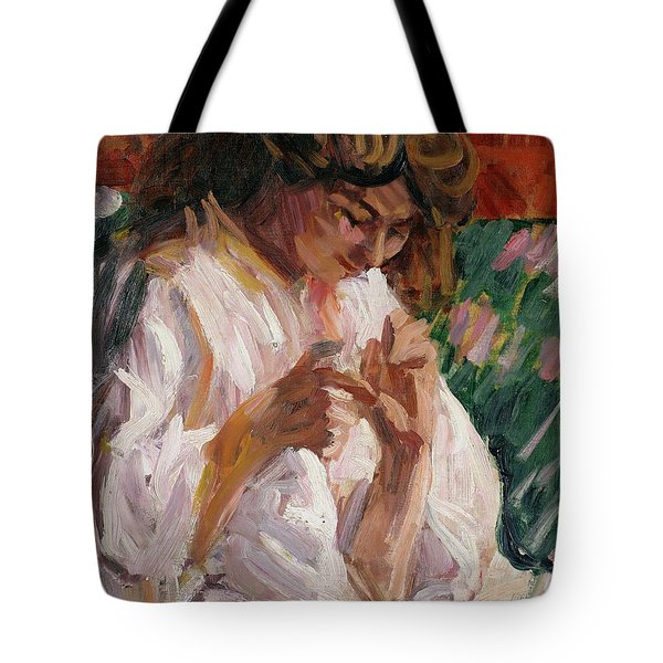 Girl Mending Tote Bag by Roderic OConor
