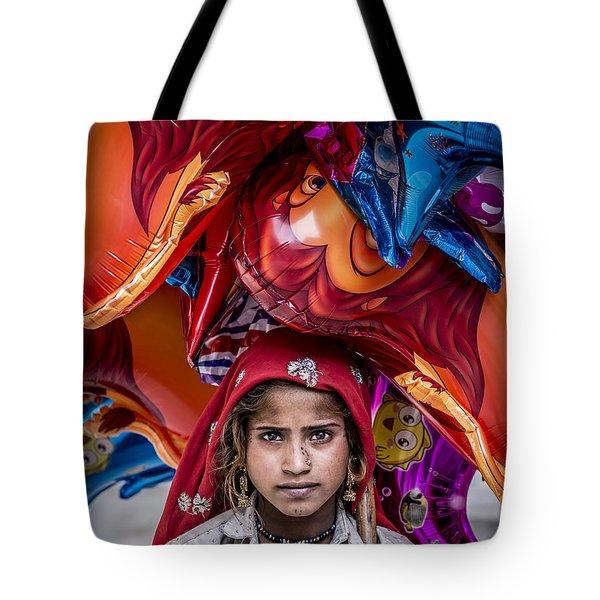 Girl Of Balloons Tote Bag