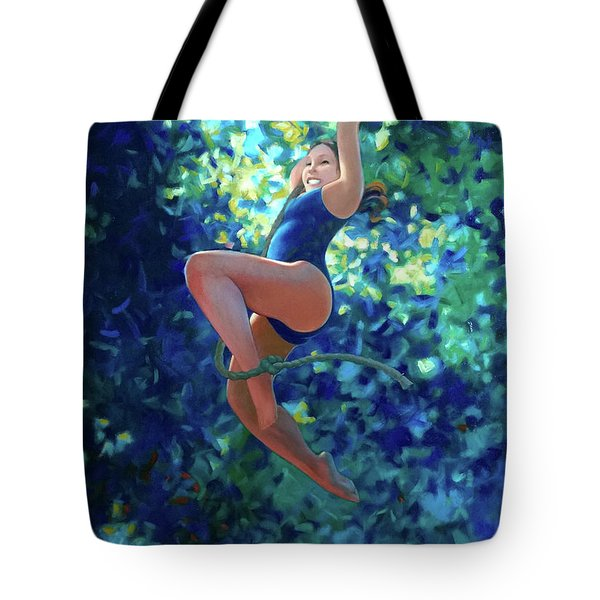 Girl On A Rope Tote Bag by Kevin Lawrence Leveque