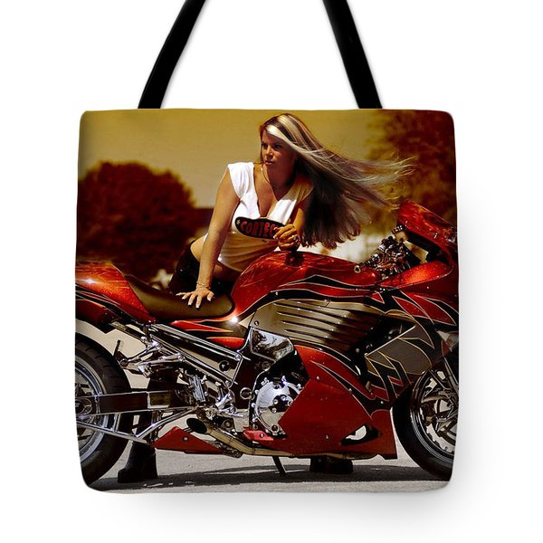 Girl On Fire Tote Bag by Lawrence Christopher