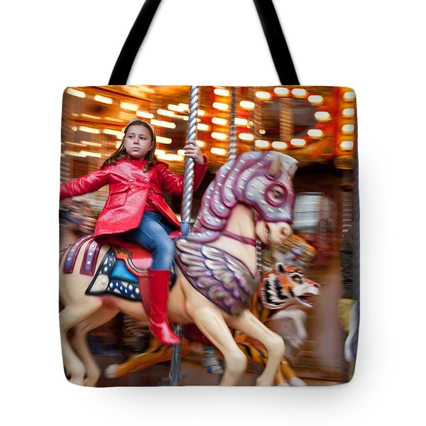 Girl On Merry Go Round Tote Bag
