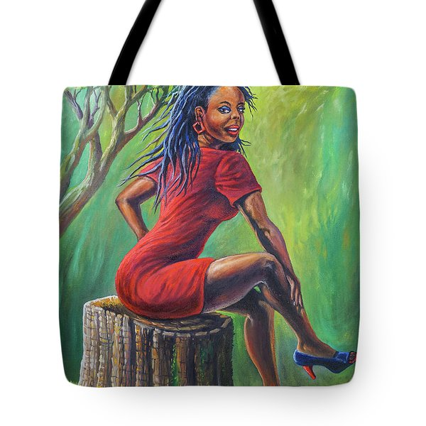Girl On Stump Tote Bag
