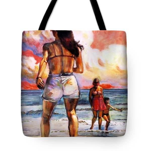 Girl On The Beach Tote Bag