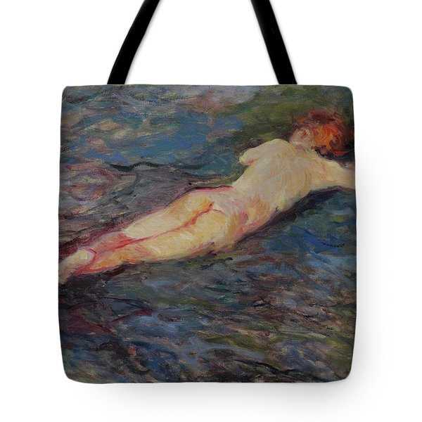 Girl On Volcanic Beach, Spain Tote Bag
