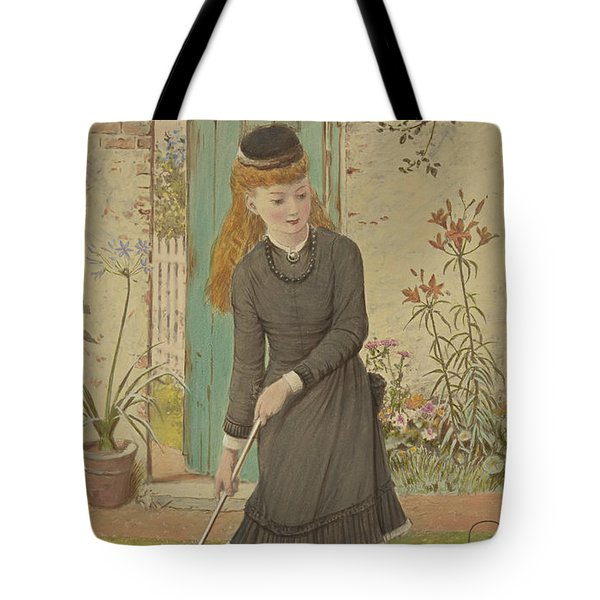 Girl Playing Croquet Tote Bag