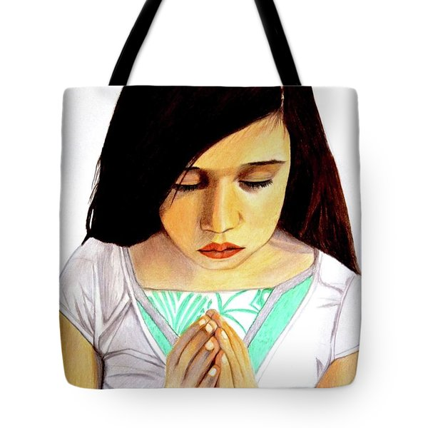 Girl Praying Drawing Portrait By Saribelle Tote Bag by Saribelle Rodriguez