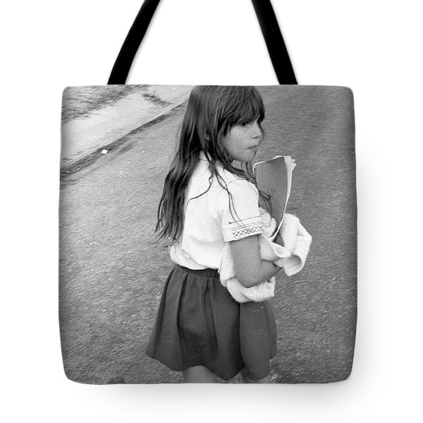 Girl Returns Home From School, 1971 Tote Bag