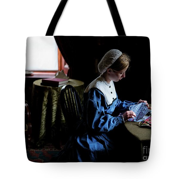 Girl Sewing Tote Bag