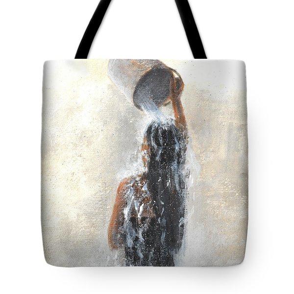 Girl Showering Tote Bag