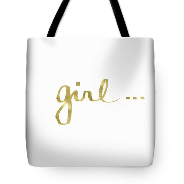 Girl Talk Gold- Art By Linda Woods Tote Bag