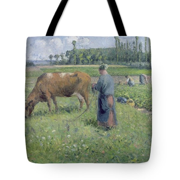 Girl Tending A Cow In Pasture Tote Bag by Camille Pissarro