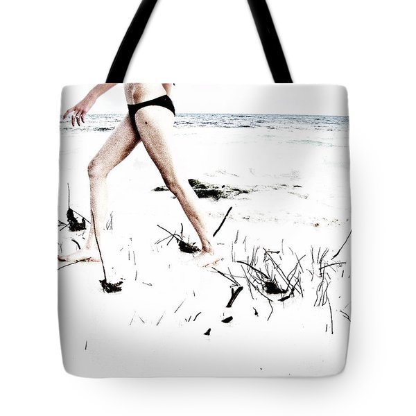 Girl Walking On Beach Tote Bag