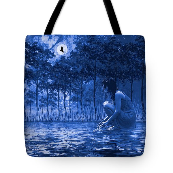 Girl Washing At The River Tote Bag by Diane Schuster