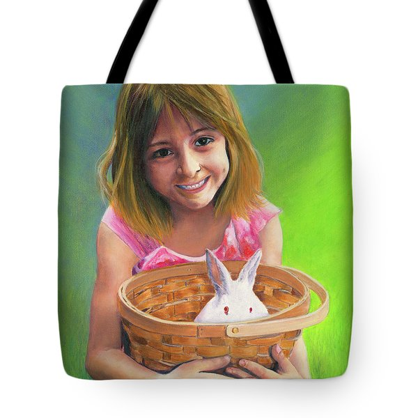 Girl With A Bunny Tote Bag by Jeanette French