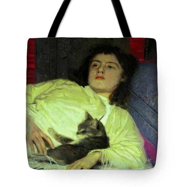 Girl With A Cat 1882 Tote Bag