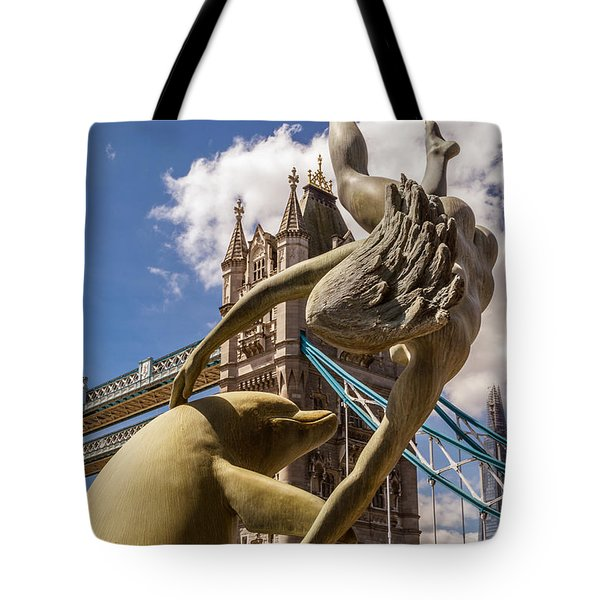 Girl With A Dolphin Fountain Tote Bag