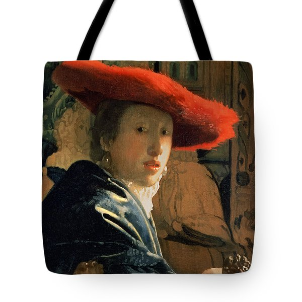 Girl With A Red Hat Tote Bag