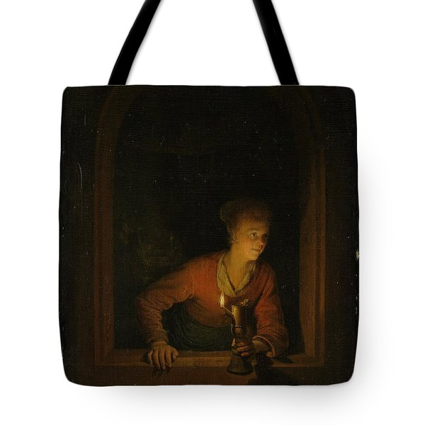 Girl With An Oil Lamp At A Window Tote Bag by Gerard Dou