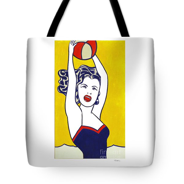 Girl With Ball - Pop Art - Roy Lichtenstein Tote Bag