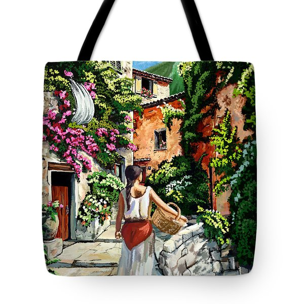 Girl With Basket On A Greek Island Tote Bag