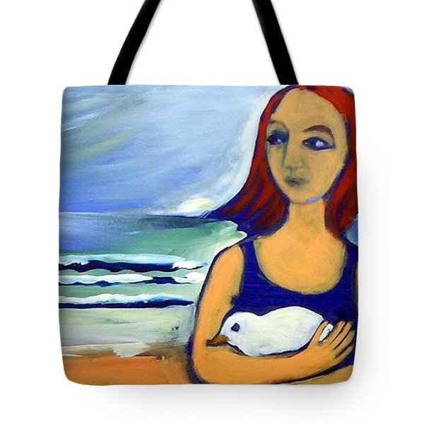 Girl With Bird Tote Bag by Winsome Gunning