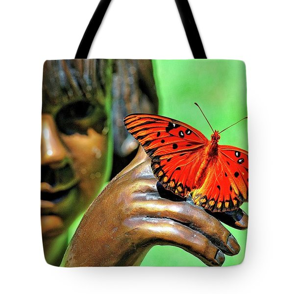 Girl With Butterfly Tote Bag