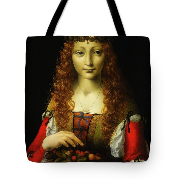 Tote Bag featuring the painting Girl With Cherries by Giovanni De Predis