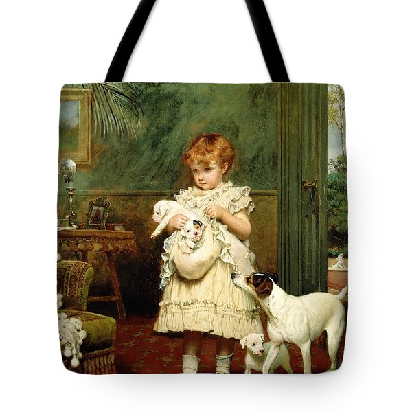 Girl With Dogs Tote Bag