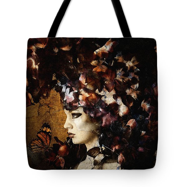Girl With Flower Hat Tote Bag
