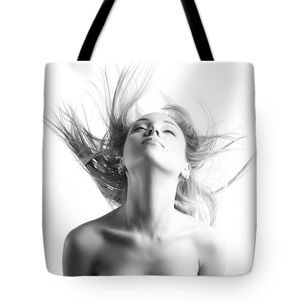 Girl With Flying Blond Hair Tote Bag by Olena Zaskochenko