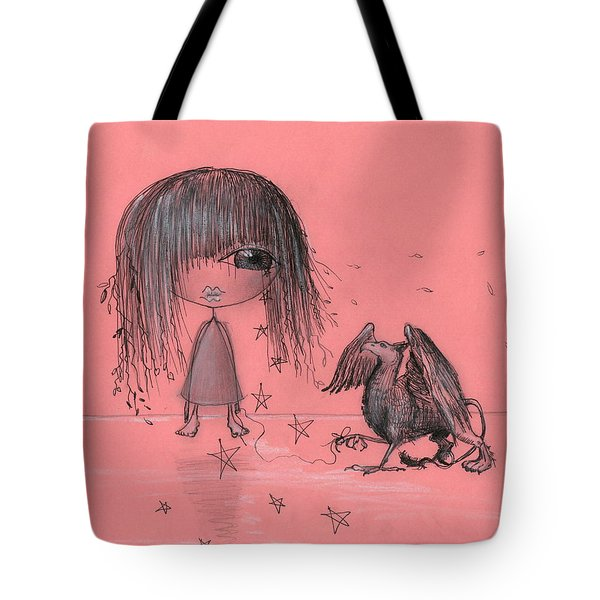 Girl With Griffin  Tote Bag