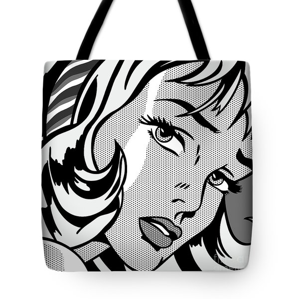 Girl With Hair Ribbon_1965 - Grayscale Tote Bag