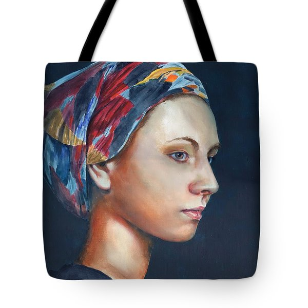 Girl With Headscarf Tote Bag
