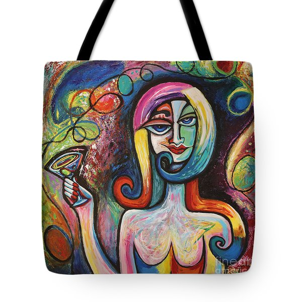 Tote Bag featuring the painting Girl With Martini Cocktail Abstract by Genevieve Esson