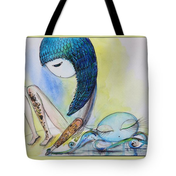 Girl With Octopus  Tote Bag