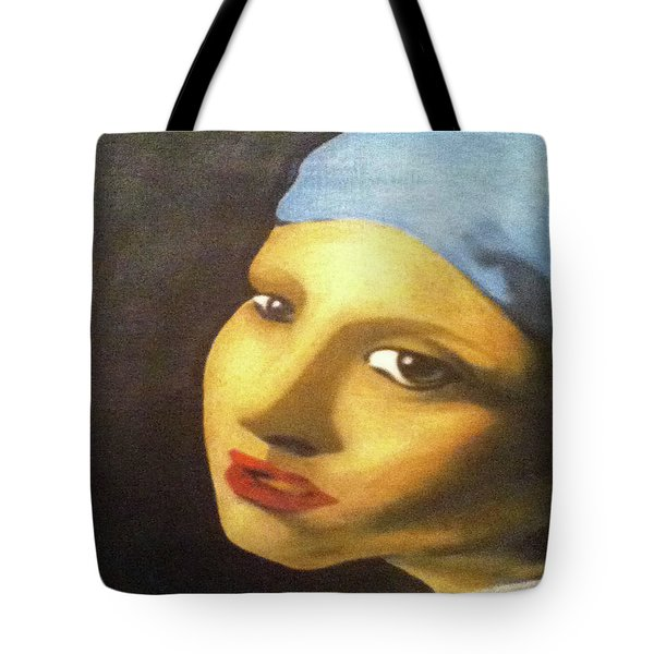Tote Bag featuring the painting Girl With Pearl Earring Face by Jayvon Thomas